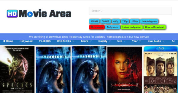 Hdmoviearea 2021 – Website to download illegal HD movies